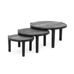Gommaire Coffee Table Floor Set of 3 | Reclaimed Teak Black