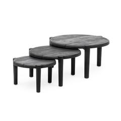Gommaire De table basse au sol, ensemble de 3 | Noir de teck récupéré