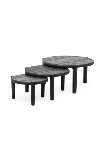 Gommaire Coffee Table Floor Set of 3 | Reclaimed Teak Black