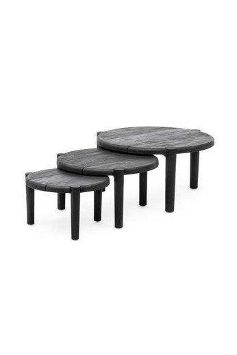 Gommaire Table basse de plancher ensemble de 3 | Teck récupéré noir