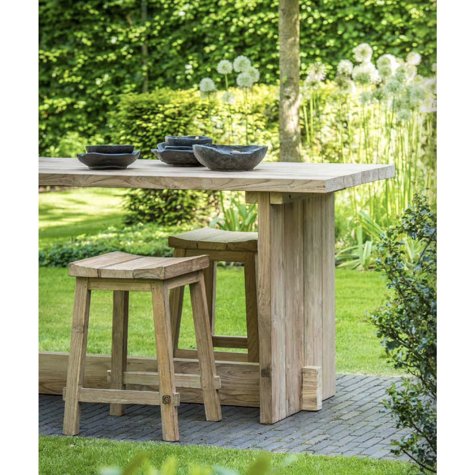 Gommaire Bar Table Alexi Large | Reclaimed Teak Natural Gray