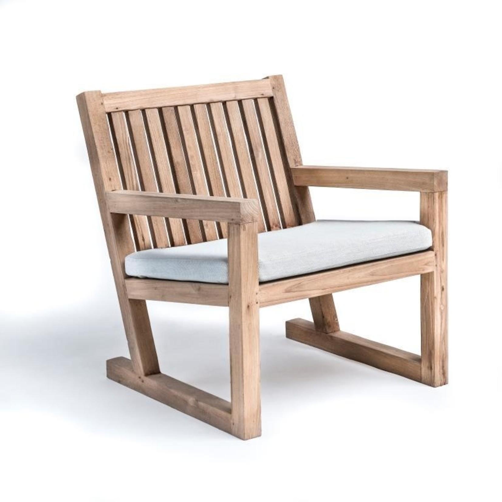 Gommaire Easy Chair Alan   Reclaimed Teak Natural Gray + Cushion