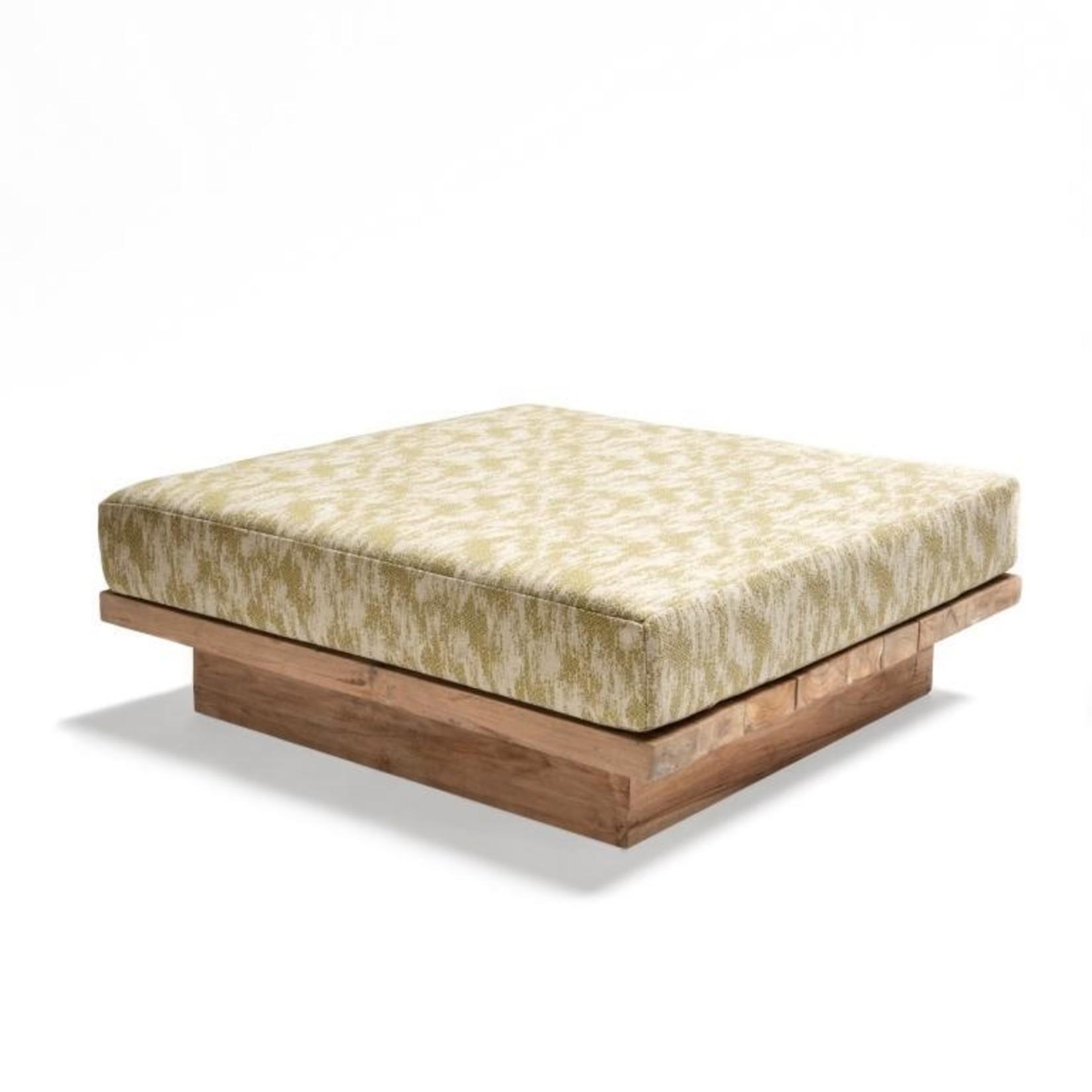 Gommaire Ottoman Magnus   Reclaimed Teak Natural Gray + Cushion