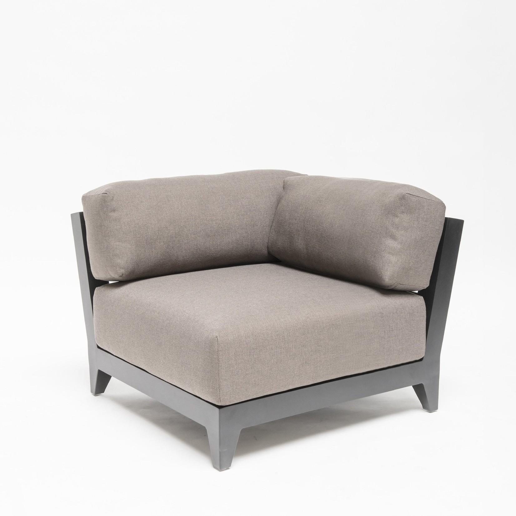 Gommaire Corner Réel droit Mia | Aluminium noir mat + coussin