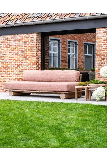 Gommaire Sofa Edge | Reclaimed Teak Natural Grey & PE Wicker Antique Weed + Cushion
