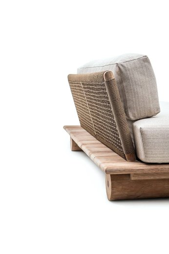 Gommaire Canapé Edge   Reclaimed Teak Natural Grey & PE Wicker Antique Weed + Coussin