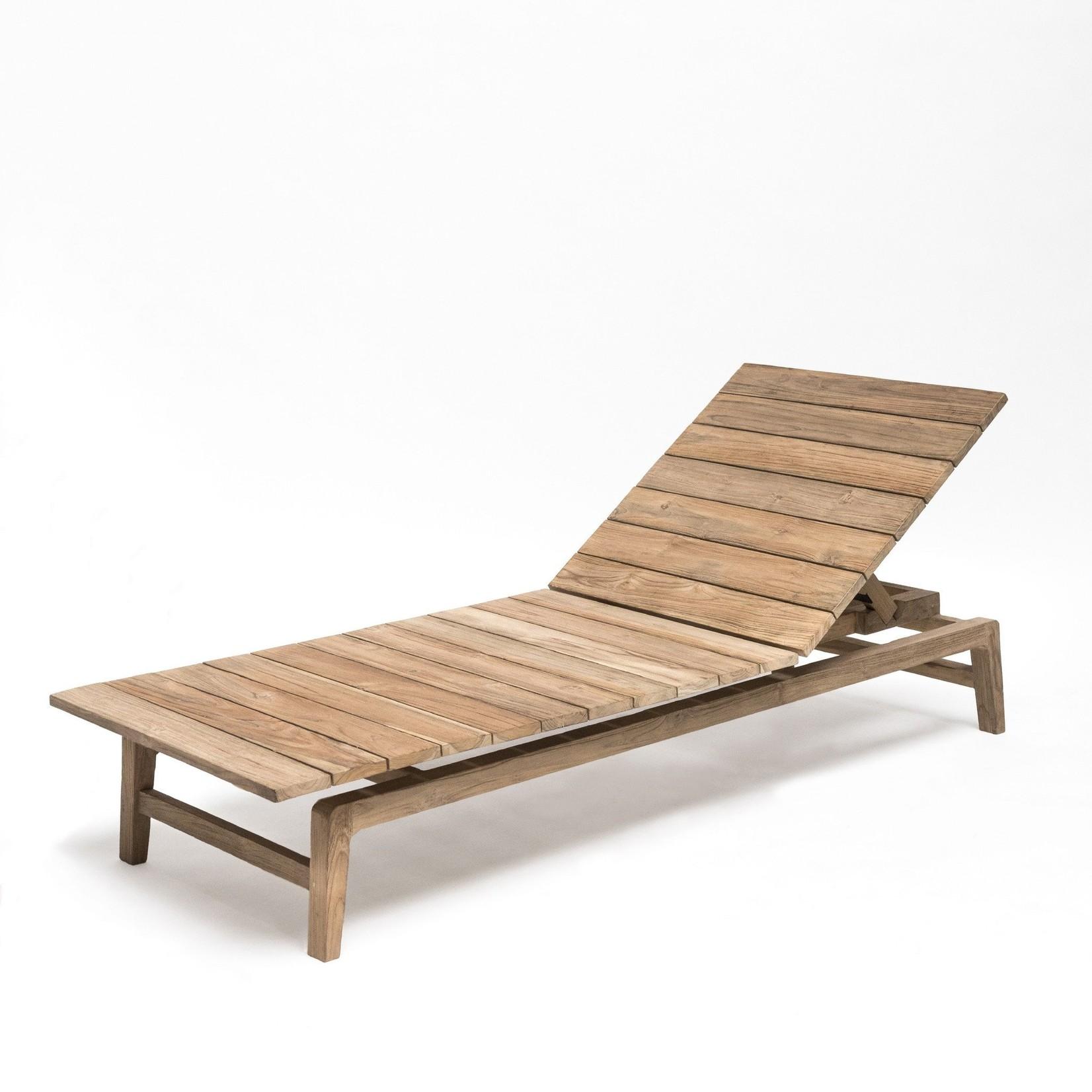 Gommaire Sunbed Copenhague   Reclaimed Teak Natural Gray + Cushion