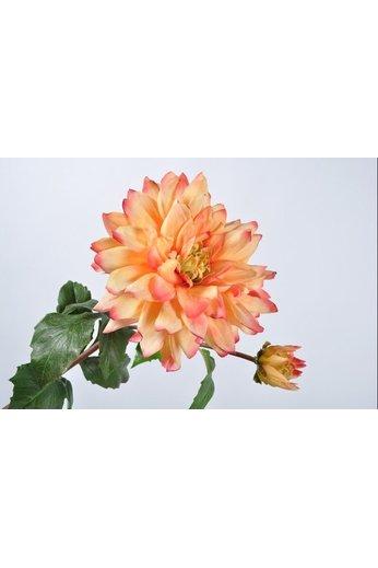 Silk-ka Dahlia tige orange / rose | 75 cm