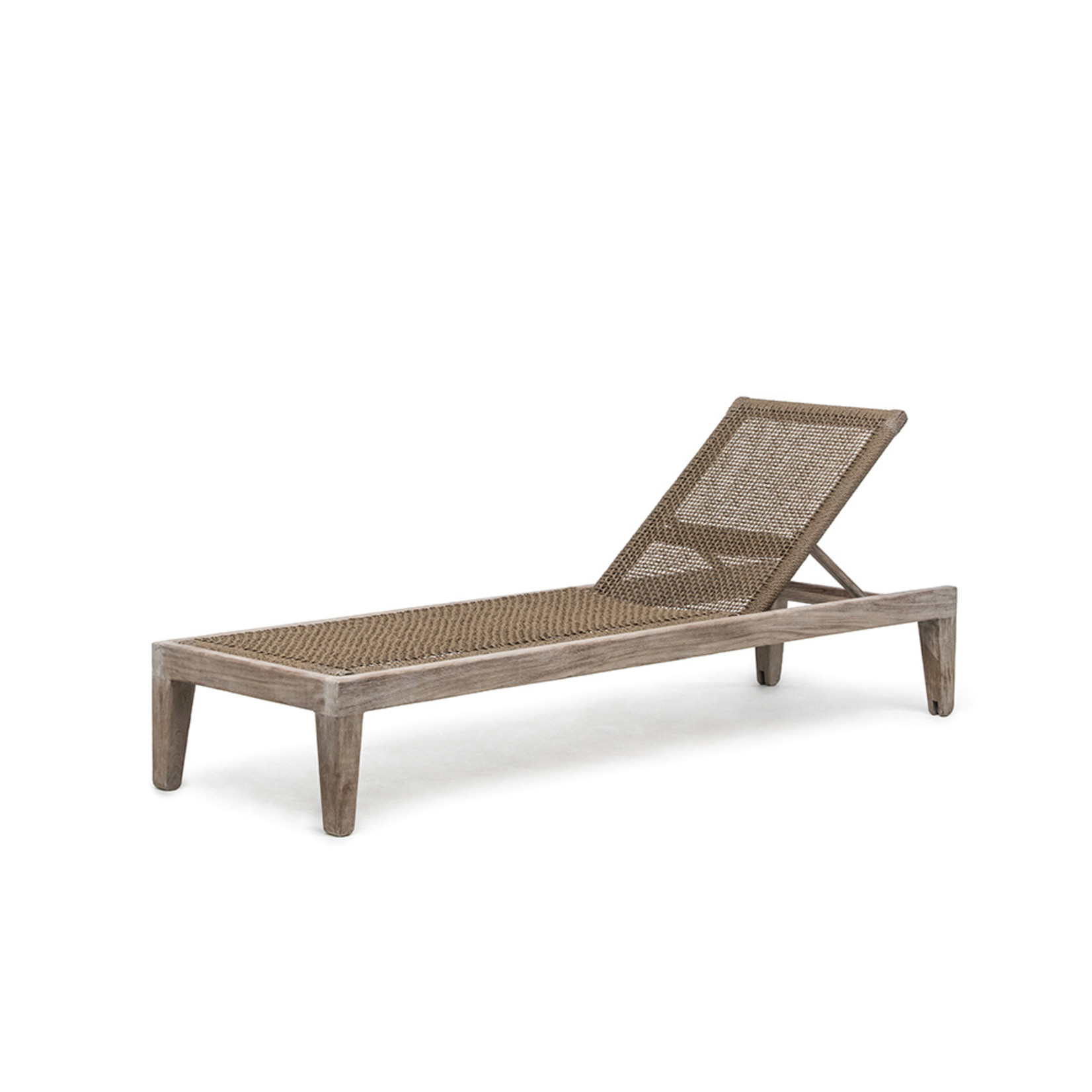 Gommaire Sunlounger Lisa incl. Wheels   Reclaimed Teak Natural Grey & PE Wicker Antique Weed + Cushion