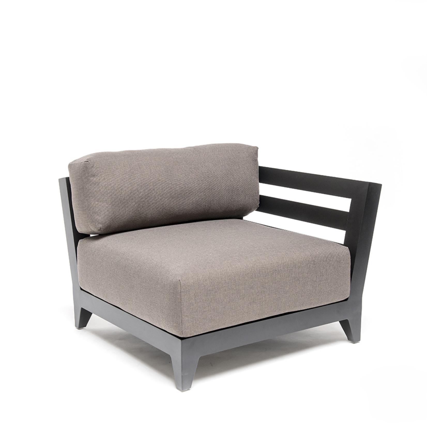 Gommaire Left Corner Mia   Aluminium Matte Black + Cushion