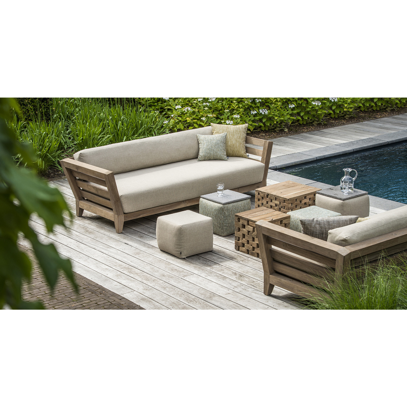 Gommaire Canapé Mia   Reclaimed Teak Natural Grey + Coussin
