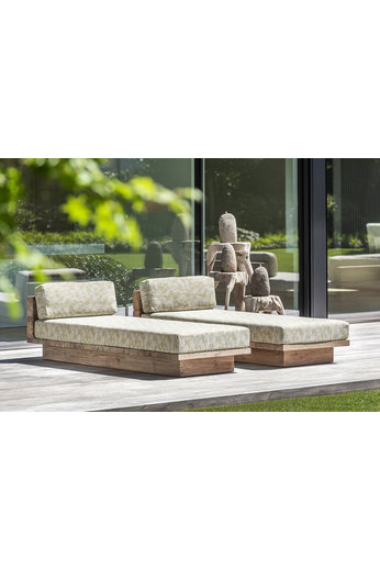 Gommaire Sunlounger Magnus incl. Wheels | Reclaimed Teak Natural Gray + Cushion
