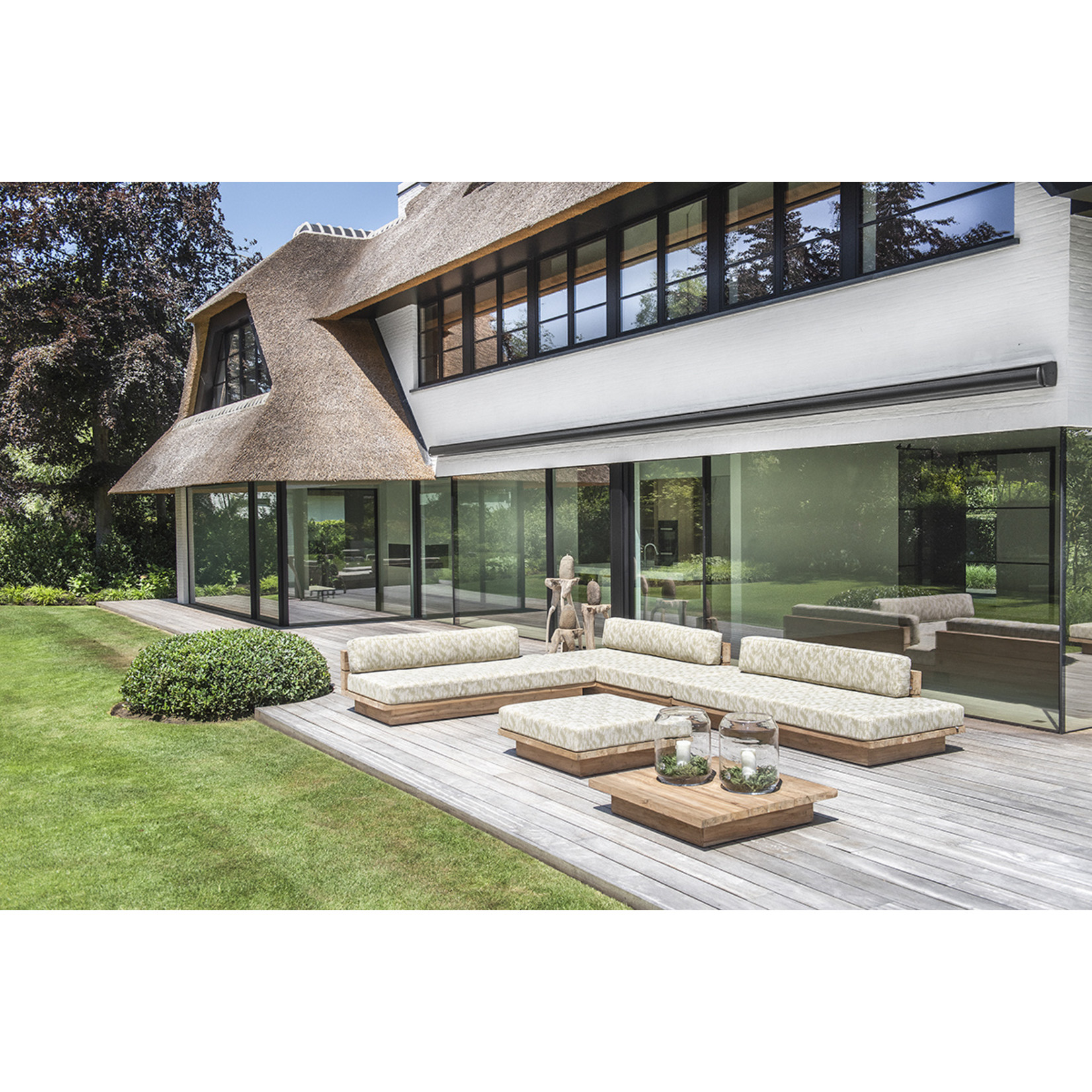 Gommaire Lounge Magnus   Reclaimed Teak Natural Grey + Cushion