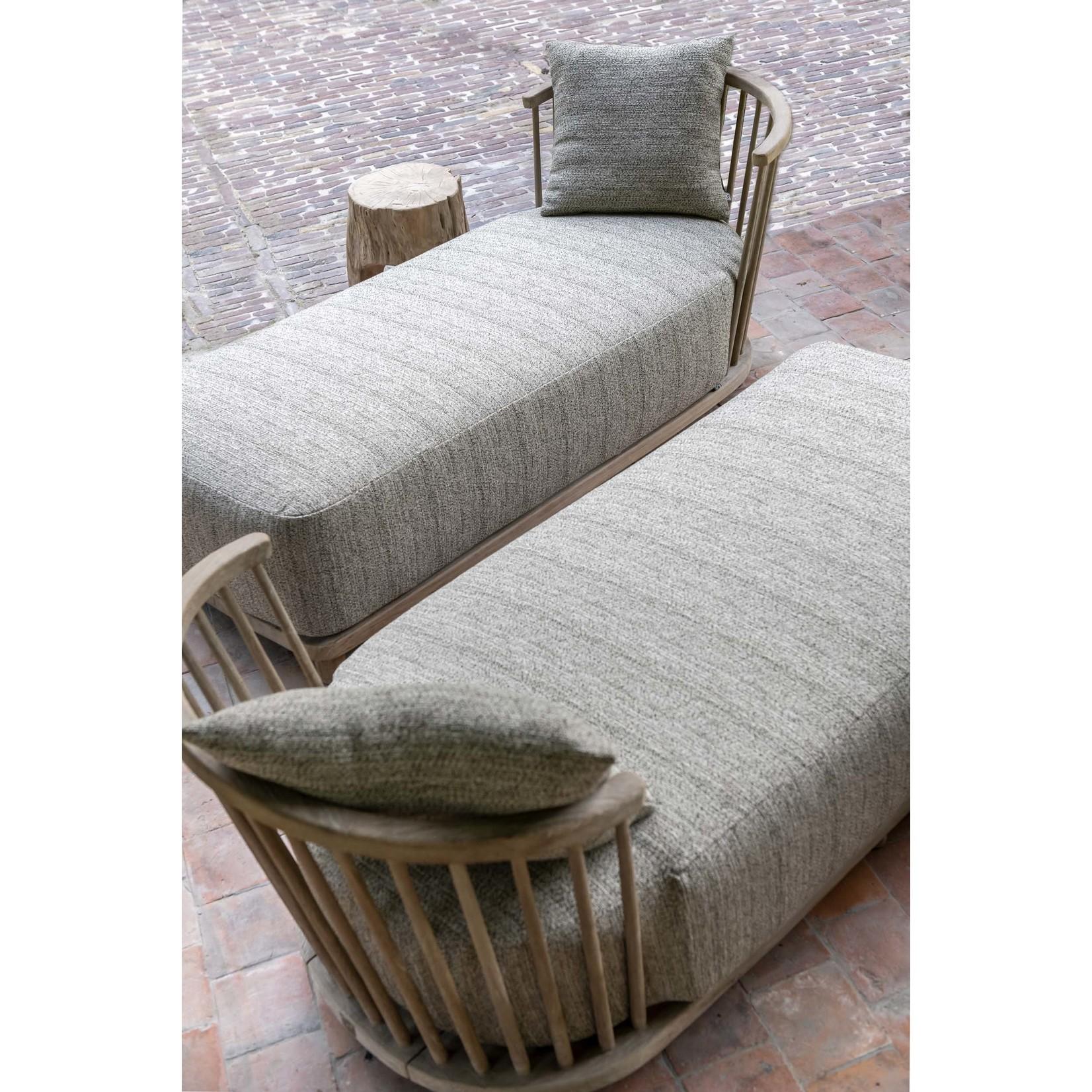 Gommaire Chaise Longue Carol | Reclaimed Teak Natural Gray + Cushion