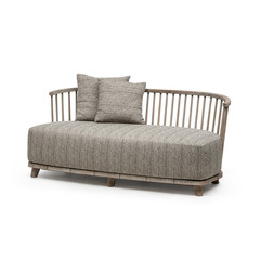 Gommaire Lounge Carol 2-Seater | Reclaimed Teak Natural Grey + Cushion