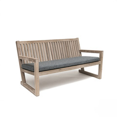 Gommaire Bench Alan | Reclaimed Teak Natural Grey + Cushion
