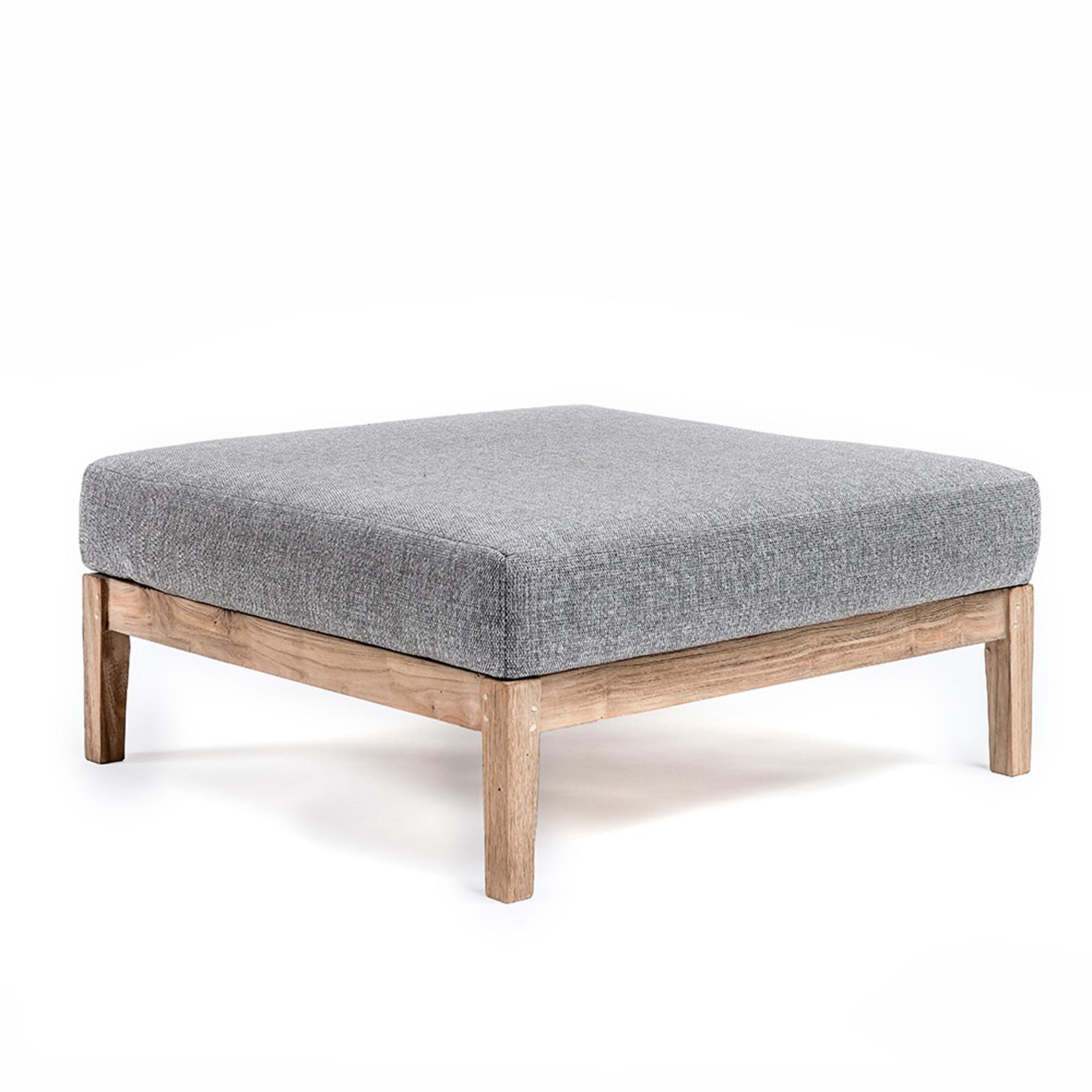 Gommaire Ottoman Copenhague | Reclaimed Teak Natural Grey + Cushion