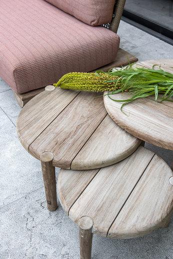 Gommaire Table basse de plancher ensemble de 3   Teck récupéré gris naturel