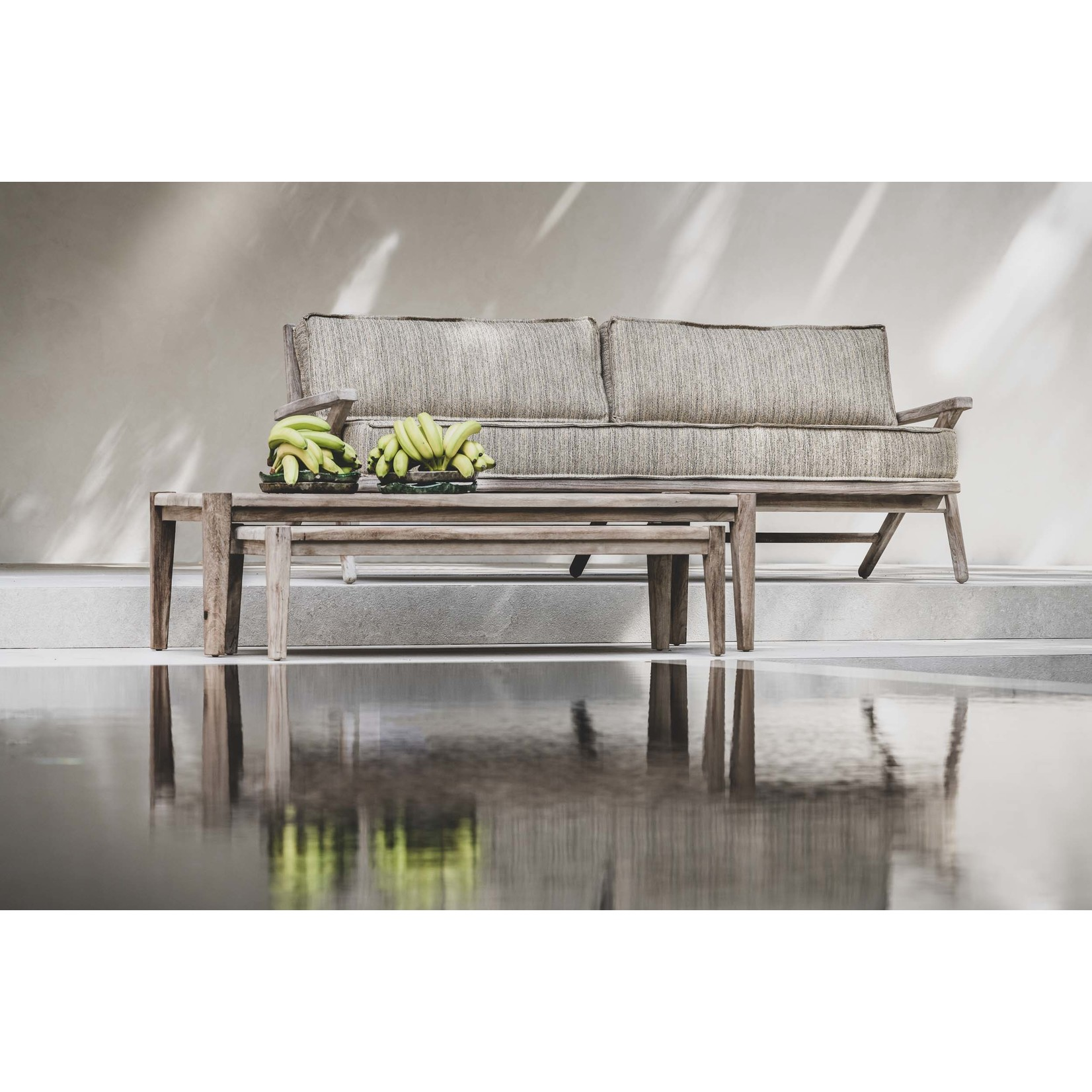 Gommaire Rectangular Coffee Table Floor Small | Reclaimed Teak Natural Grey