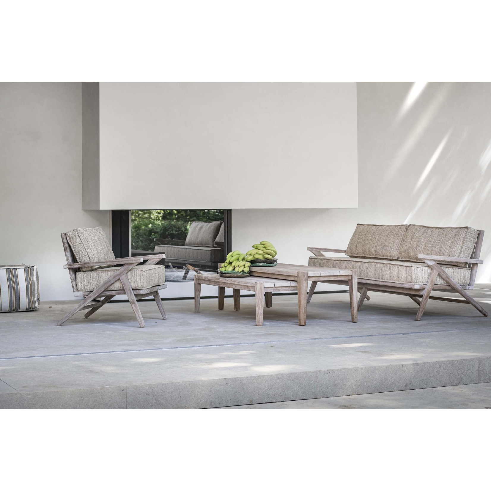 Gommaire Table basse rectangulaire Floor Small | Teck récupéré gris naturel