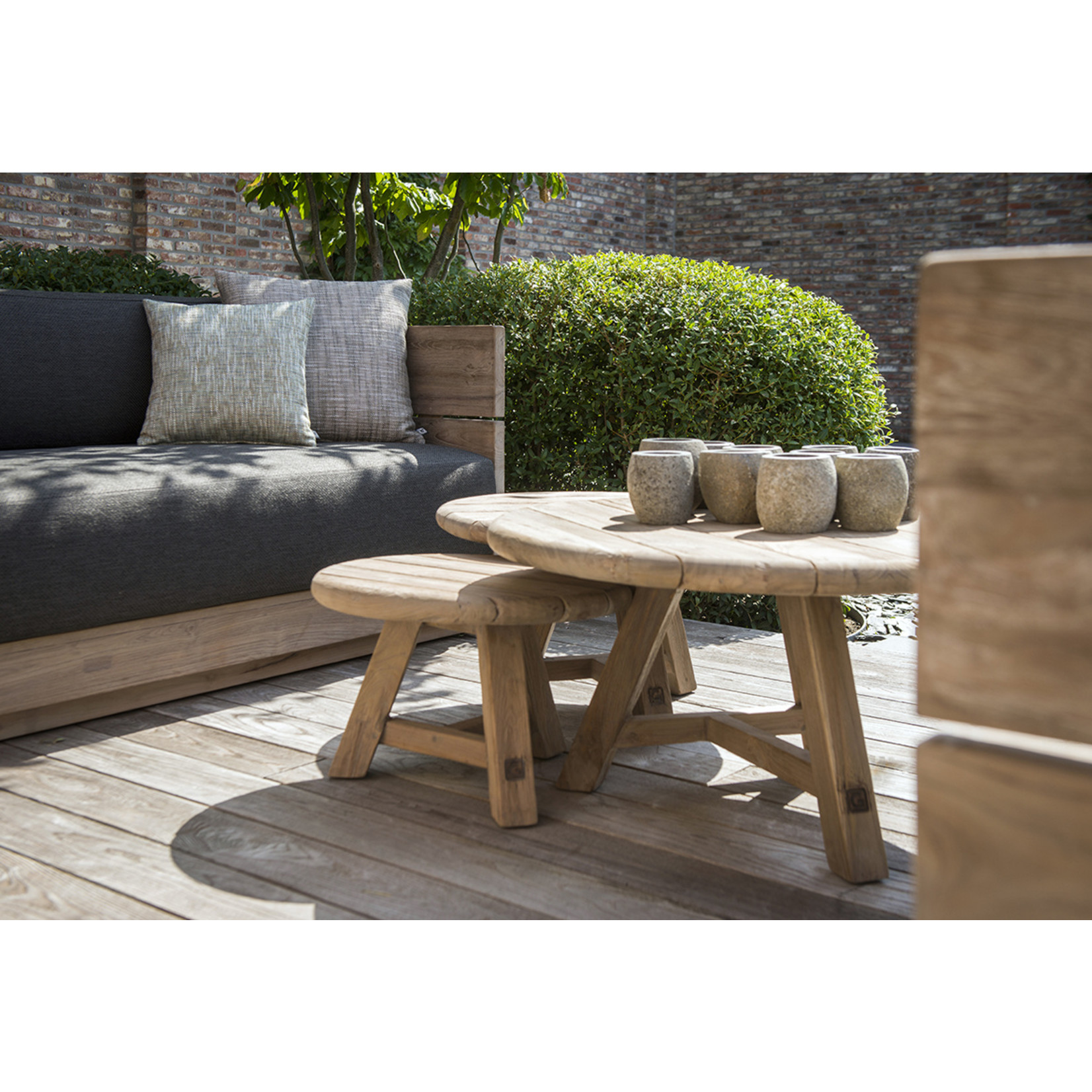 Gommaire Coffee Table Anton Set of 3 | Reclaimed Teak Natural Gray