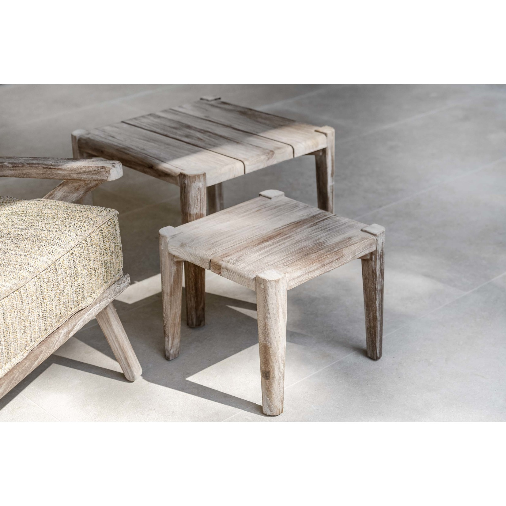 Gommaire Square Coffee Table Floor Large   Reclaimed Teak Natural Gray