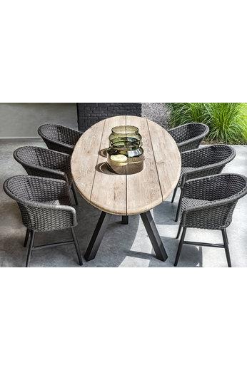 Gommaire Table Samuel | Teck récupéré gris naturel et aluminium noir mat