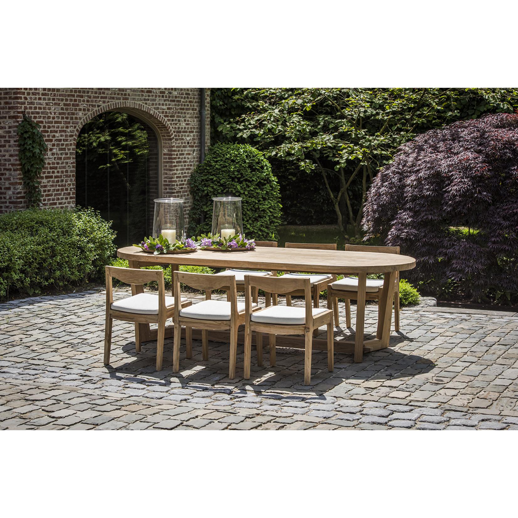 Gommaire Table ovale Dan Grand | Teck Récupéré Gris Naturel