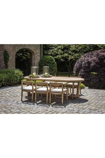 Gommaire Table ovale Dan   Teck récupéré gris naturel