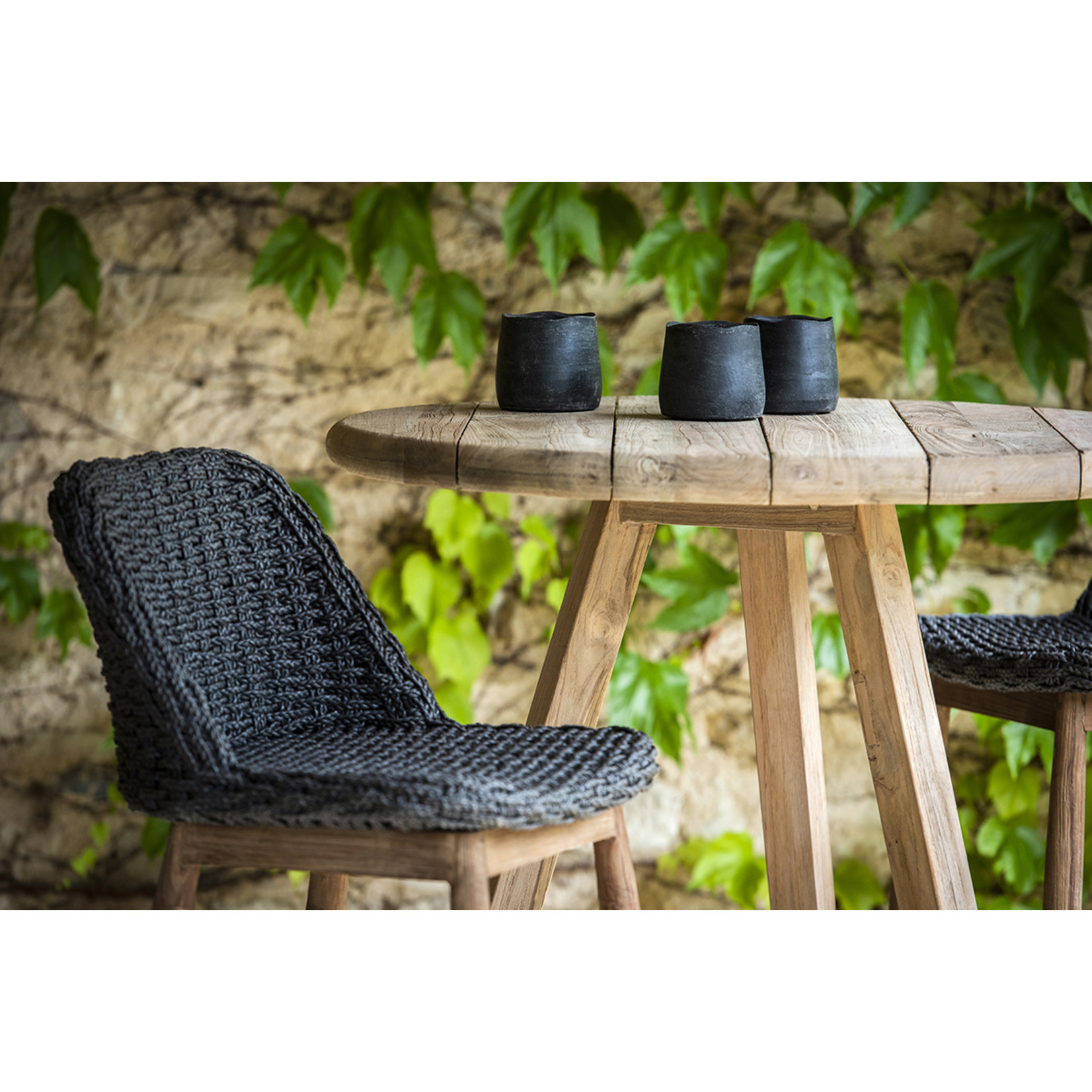 Gommaire Round Bar Table Anton | Reclaimed Teak Natural Gray