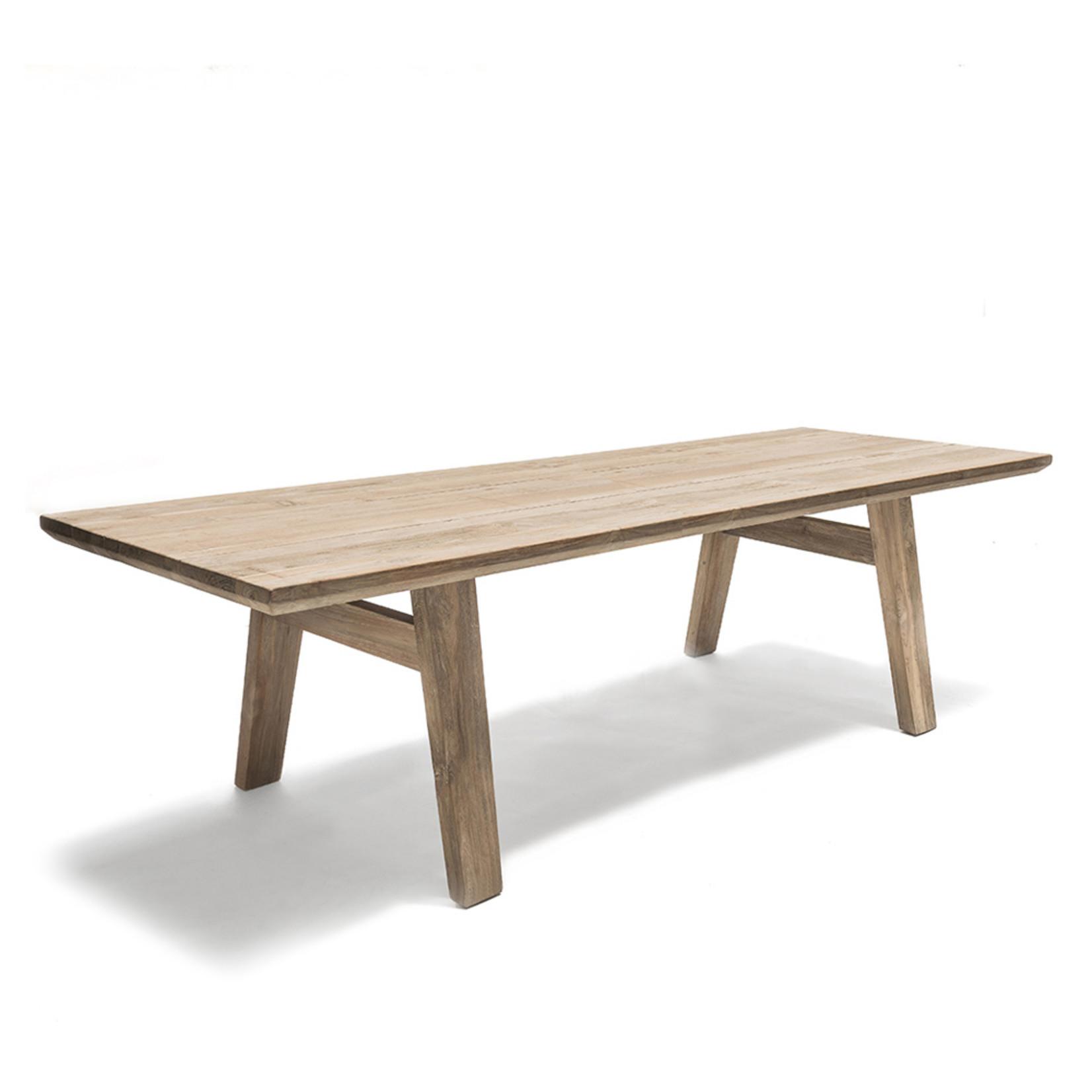 Gommaire Table Mia Large   Teck récupéré gris naturel