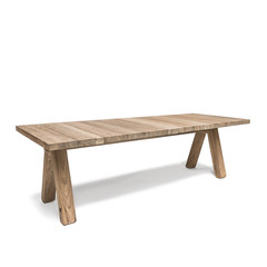 Gommaire Table Ziggy   Teck récupéré gris naturel