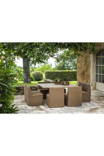 Gommaire Table carrée Dennis | Teck récupéré gris naturel