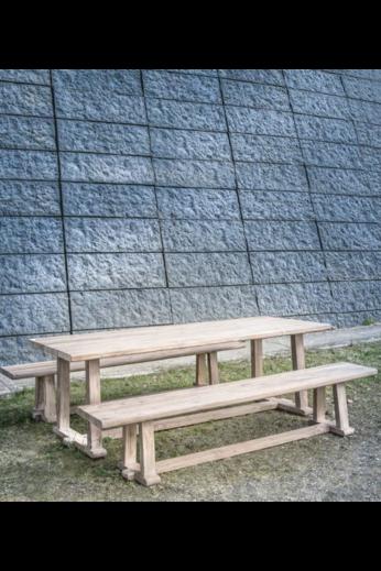 Gommaire Bench Josse | Teck récupéré gris naturel