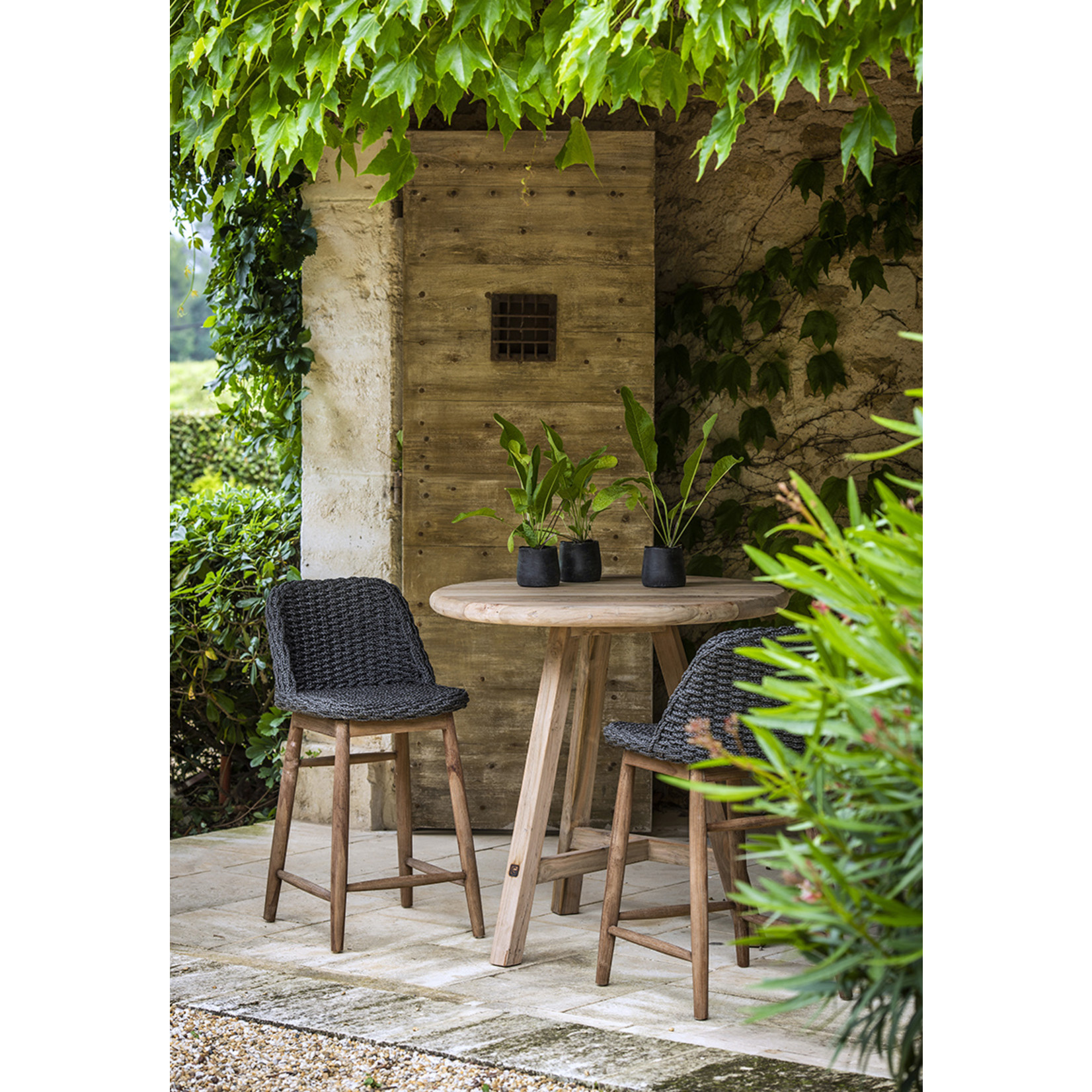 Gommaire Bar Chair Sienna | Reclaimed Teak Natural Gray / PE Wicker Charcoal