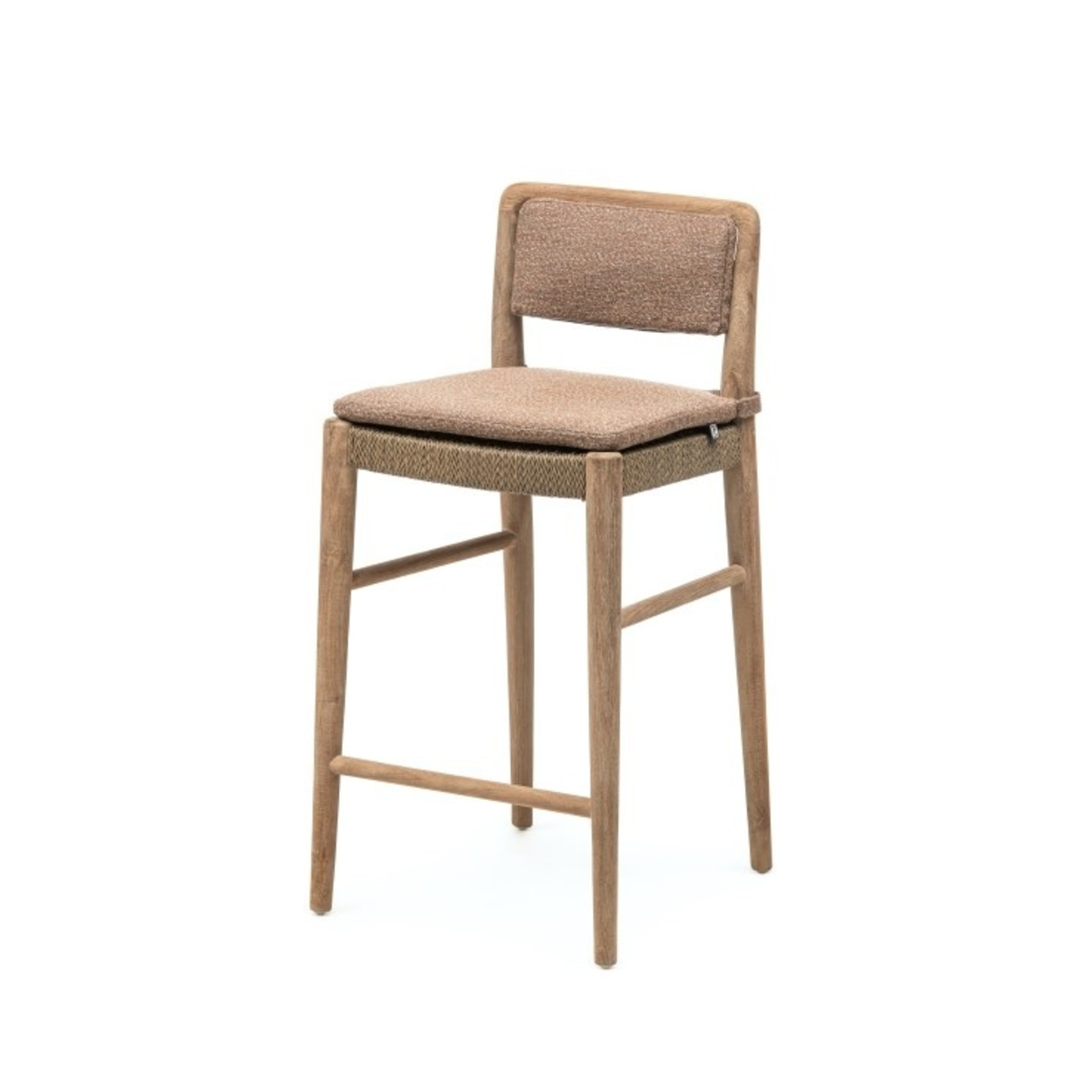 Gommaire Bar Chair Jared | Teak Natural Grey / PE Wicker Antique Weed