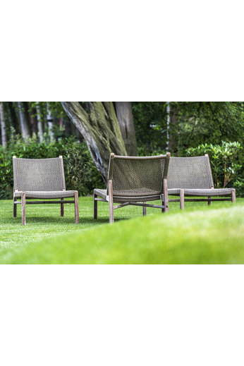 Gommaire Chaise Longue Fiona | Teak Natural Grey / PE Wicker Antique Weed