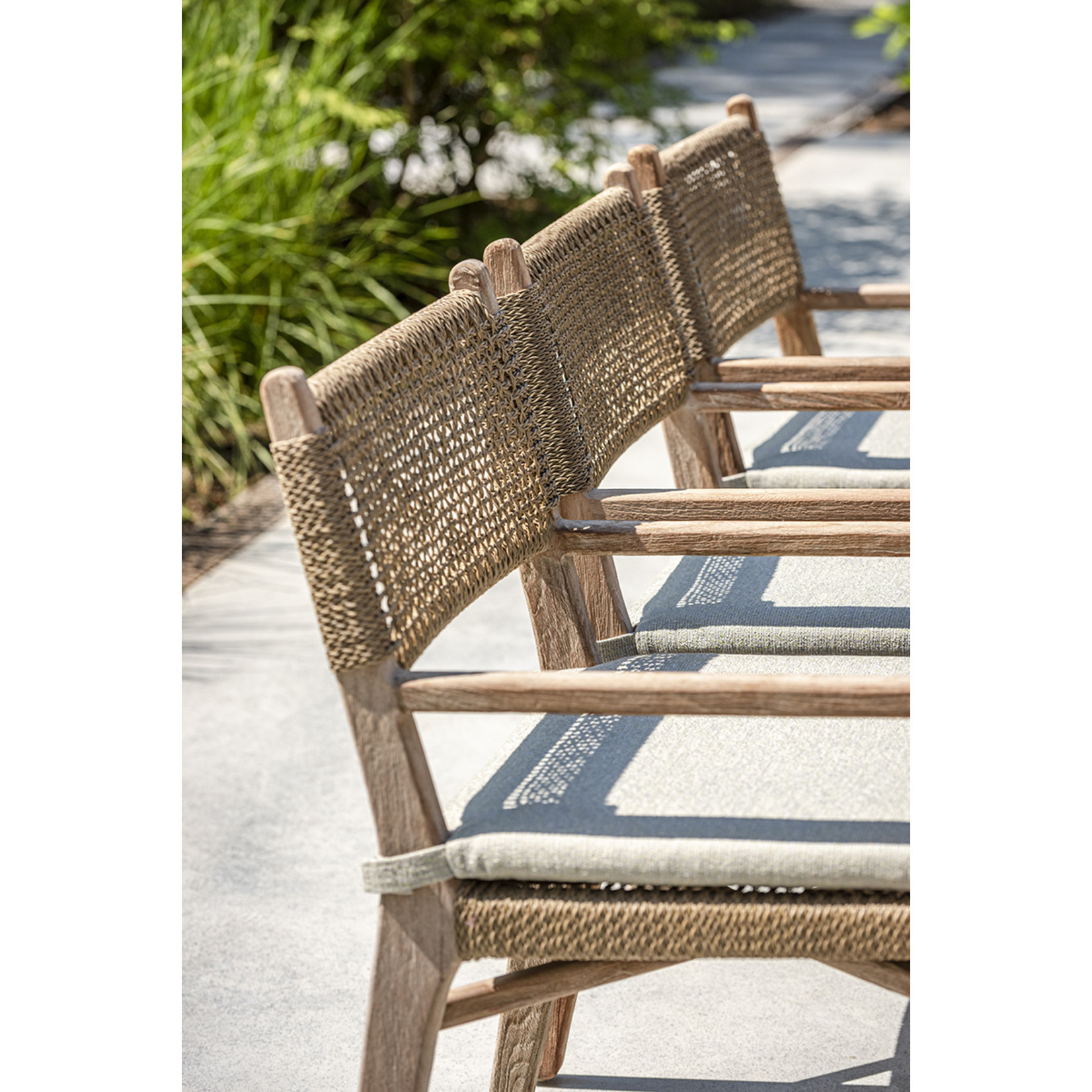 Gommaire Armchair Fiona | Teak Natural Gray / PE Wicker Antique Weed