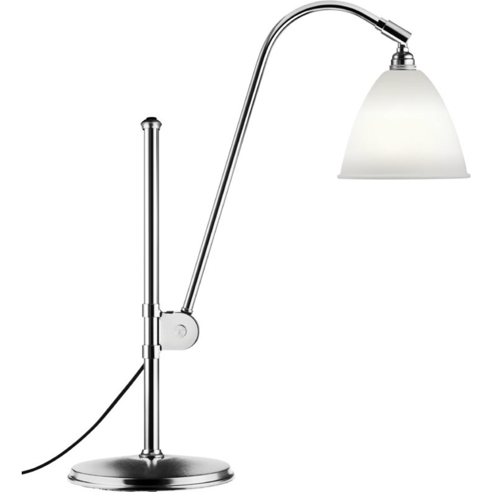 Gubi BL1 Table Lamp - Ø16 | Chrome Base & Bone China Shade