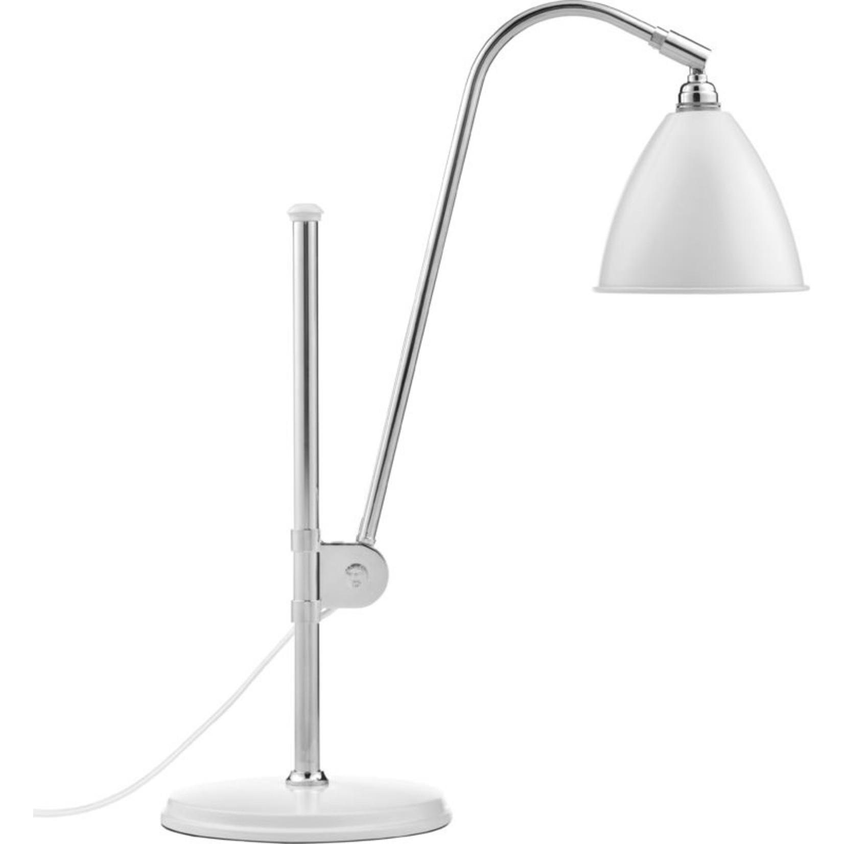 Gubi Lampe de table BL1 - Ø16 | Base chromée et abat-jour semi-mat blanc doux