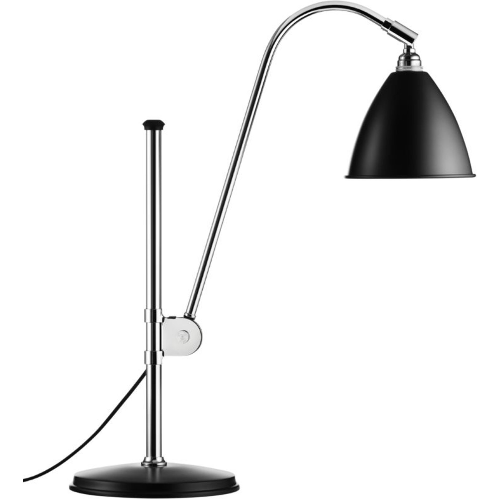 Gubi BL1 Table Lamp - Ø16 | Chrome Base & Black Semi Matt Shade