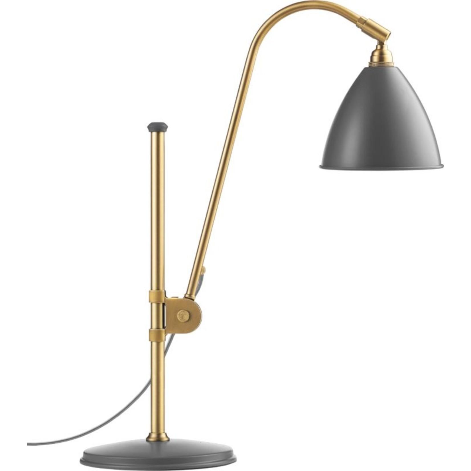 Gubi BL1 Table Lamp - Ø16 | Brass Base & Gray Semi Matt Shade
