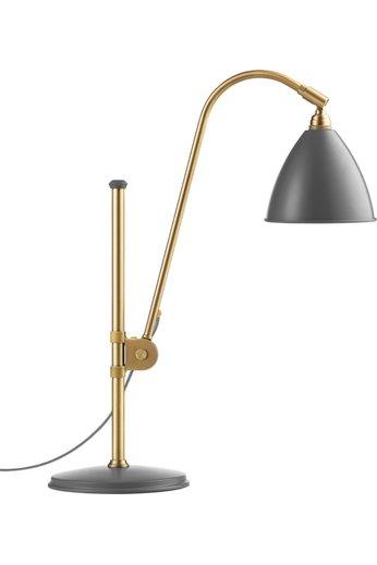 Gubi BL1 Table Lamp - Ø16 | Brass Base & Grey Semi Matt Shade