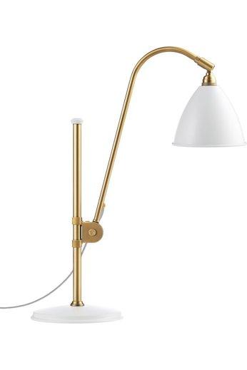 Gubi Lampe de table BL1 - Ø16 | Base en laiton et abat-jour semi-mat blanc doux
