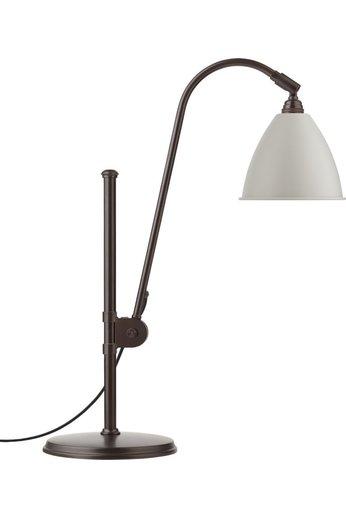 Gubi BL1 Table Lamp - Ø16 | Black Brass Base & Classic White Semi Matt Shade