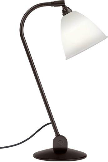 Gubi BL2 Table Lamp - Ø16   Black Brass Base & Bone China Shade