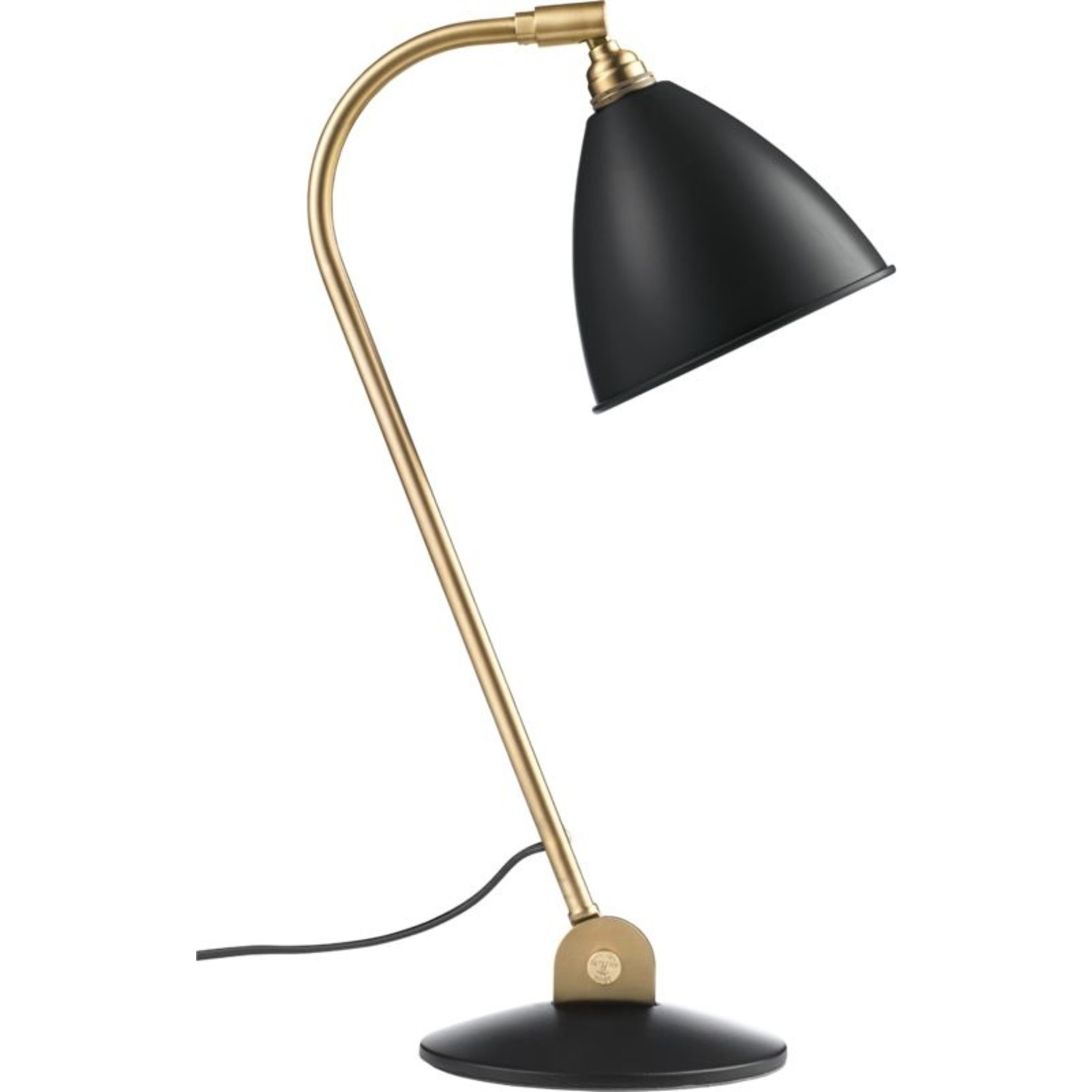 Gubi Lampe de table BL2 - Ø16 | Base en laiton et abat-jour semi-mat noir doux