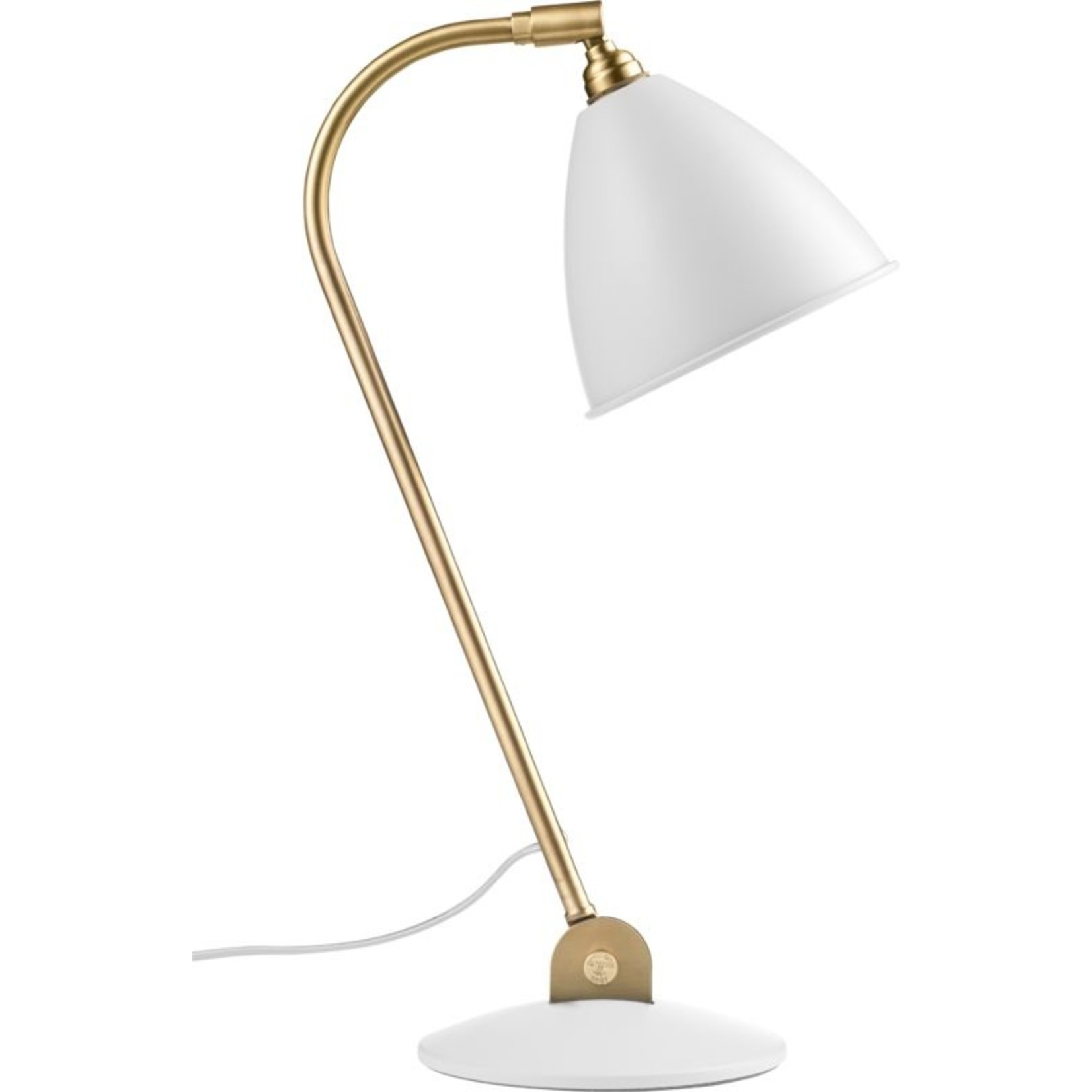 Gubi BL2 Table Lamp - Ø16   Brass Base & Soft White Semi Matt Shade
