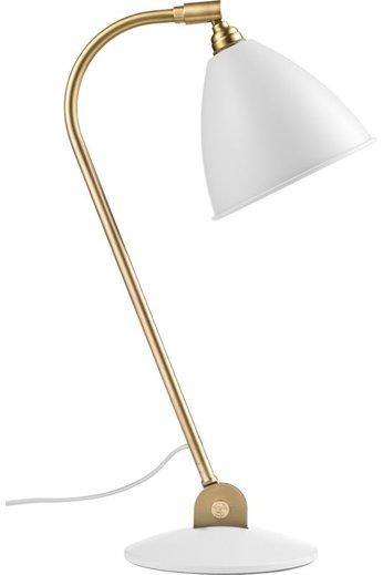 Gubi Lampe de table BL2 - Ø16 | Base en laiton et abat-jour semi-mat blanc doux