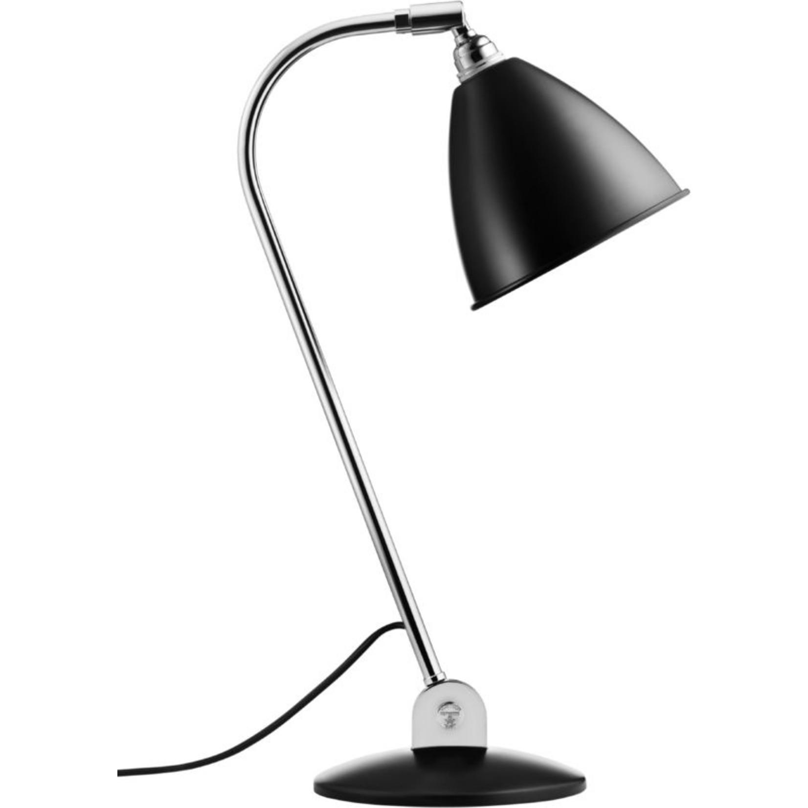 Gubi BL2 Table Lamp - Ø16   Chrome Base & Black Semi Matt Shade